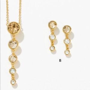 Touchstone Crystal Fizzy gold set Earring Necklace